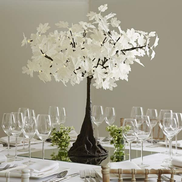 Hire mini LED maple trees with white leaves by Twilight Trees