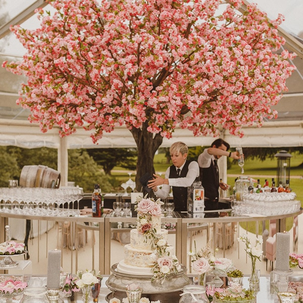 Hire grande pink blossom tree for wedding receptions