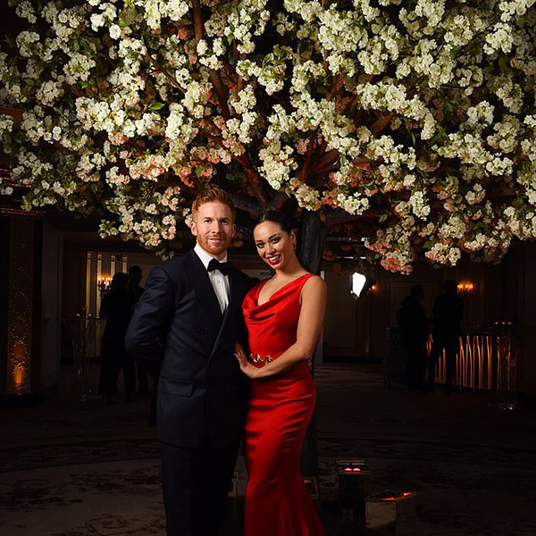 Hire white blossom trees for evening events