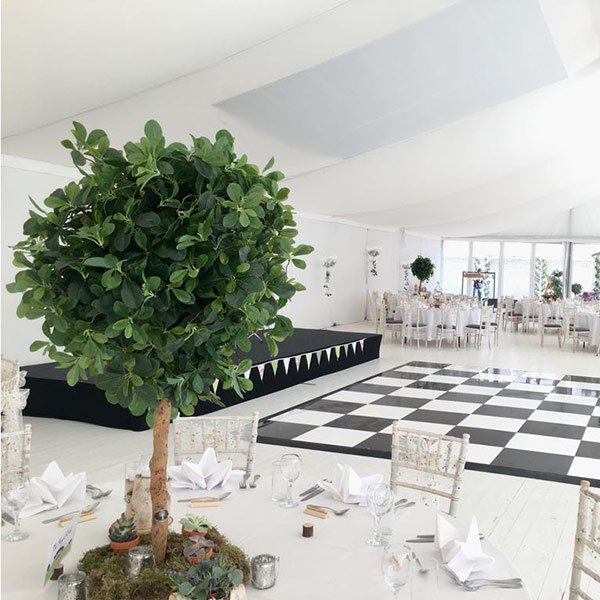 Hire small faux trees for weddings