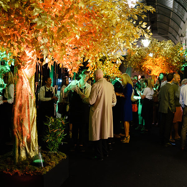 Hire faux gold tree for corporate events