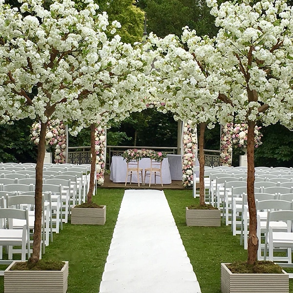 Outdoor weddings - hire white apple blossom trees