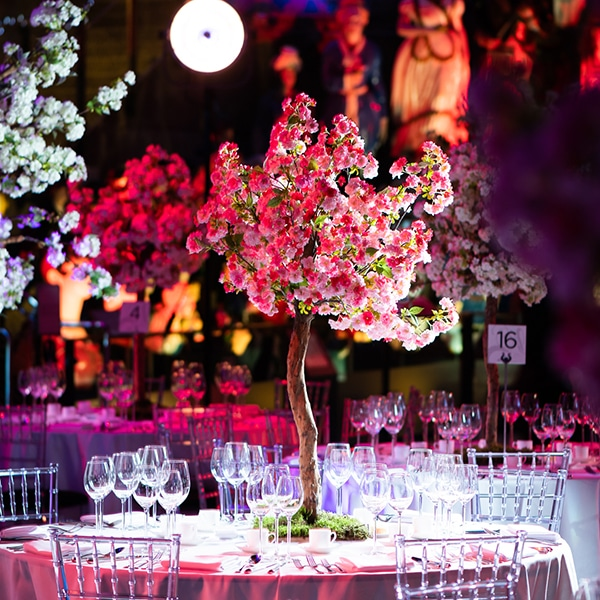 Hire pink blossom pom trees for events