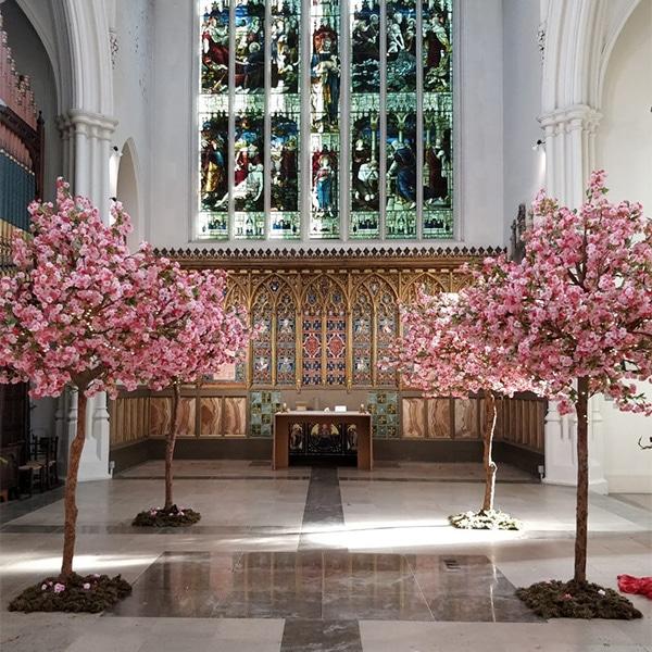 Hire pink apple blossom wedding trees