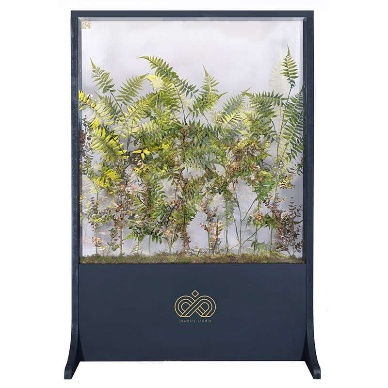 Handcrafted botanicals living spaces glass screens with biophilic design for the workplace or home from Twilight Trees. Click to view our stunning privacy screens and room dividers.