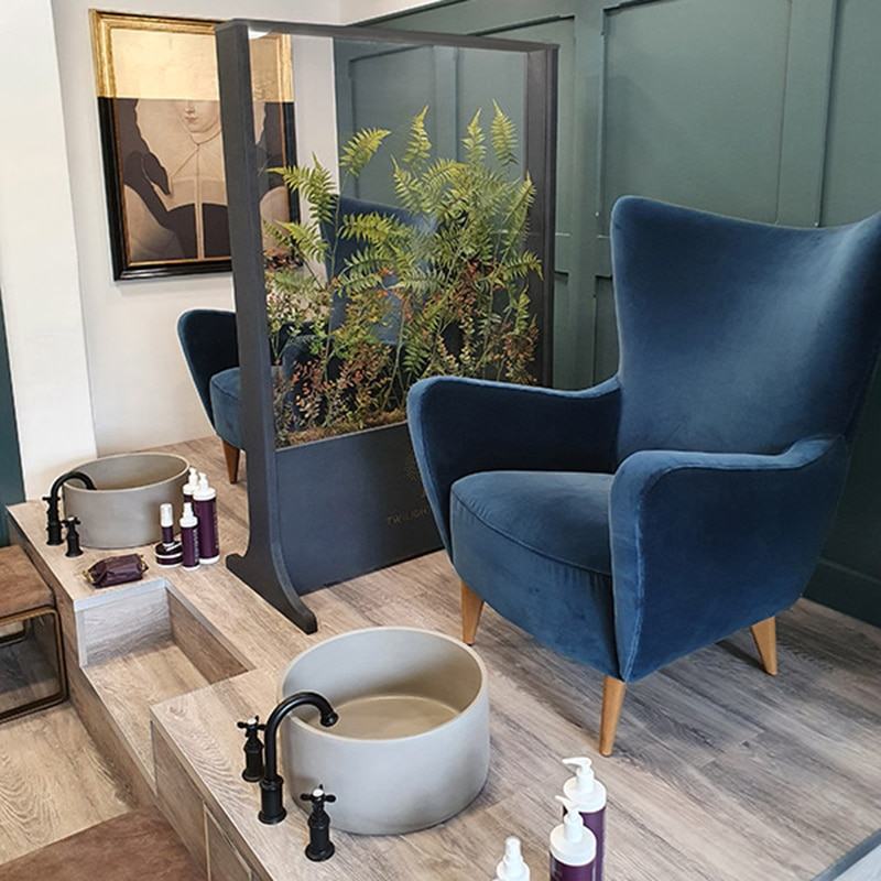 Living spaces glass screens with biophilic design for spas and beauty sanctuaries from Twilight Trees. Click to view our stunning privacy screens and room dividers.