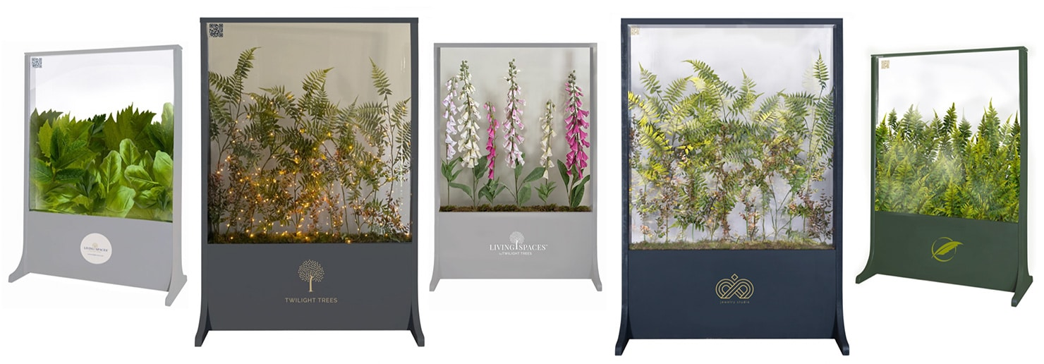 Living spaces glass screens with biophilic design for the workplace or home from Twilight Trees. Click to view our stunning privacy screens and room dividers.