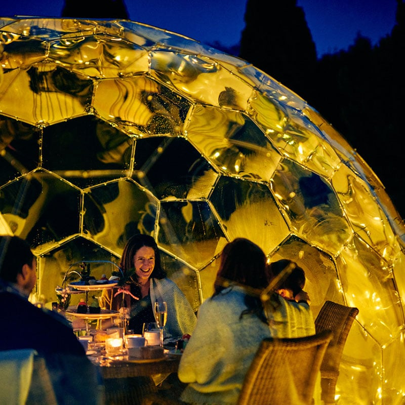 Dining outdoors with a garden dome. Twilight Trees offer creative solutions to transforming spaces with biophilic designs. Our garden domes are available to buy and hire. Click to shop glass screens and more.