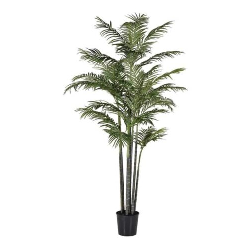 Faux green bamboo palm plant
