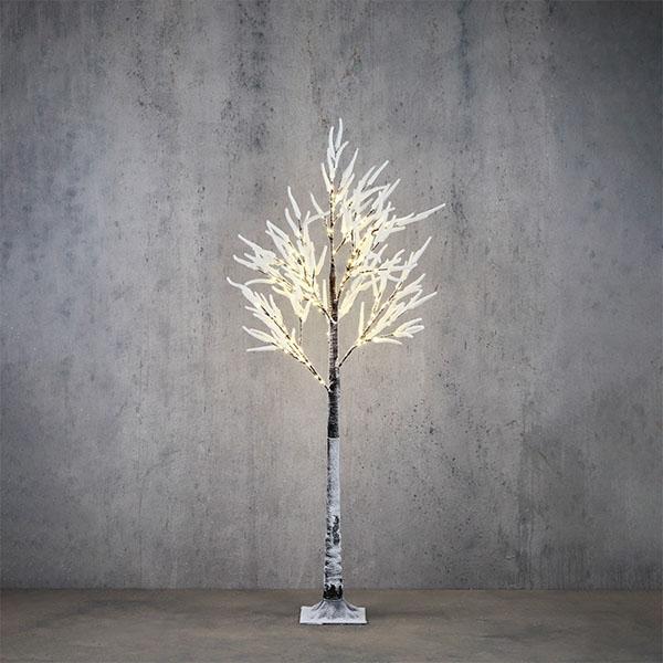 Medium white flocked lit trees
